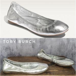 Tory Burch Eddie ballerina skimmer flats in silver